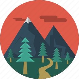 landscape, moutain, pine trees, trees icon