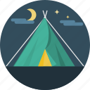 camping, landscape, moon, night, stars, tent icon