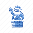chimney, holiday, santa claus, santa on chimney icon