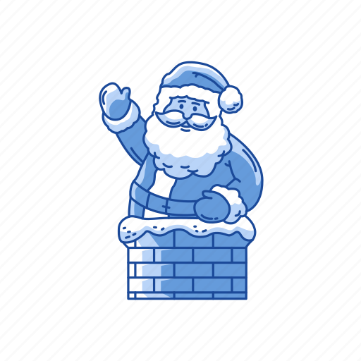 chimney, holiday, santa claus, santa on chimney icon