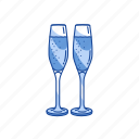 champagne, sparkling glass, wine, wine glass icon