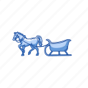 gift, horse, horse sleigh, sleigh icon