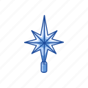 christmas star, decoration, north star, star icon