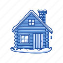 christmas, house, log cabin, winter icon