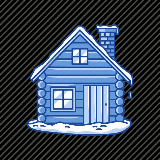 christmas, house, log cabin, winter icon