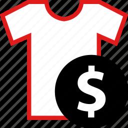 dollar, shirt, sign, tee icon