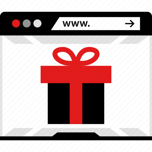 browser, gift, online, www icon