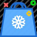 bag, shopping, snowflake, winter