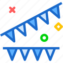birthday, celebrate, color, globe, party, triangles icon