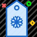 snowflake, tag, winter icon