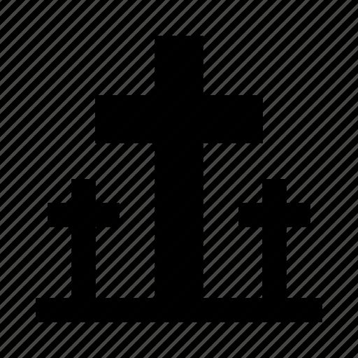 cemetery, cross, death, graves, halloween, tombstone icon