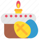 candle, celebration, easter, easter cake, egg, holiday icon