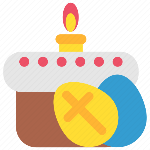 candle, celebration, easter, easter cake, egg, holiday icon