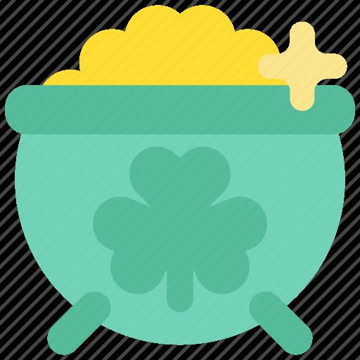 celebration, clover, fairy tale, gold, holiday, pot, st.patrick 's day icon