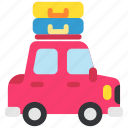 auto, car, holiday, luggage, tourism, transport, travel icon