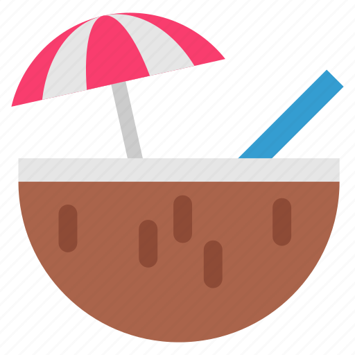 beach, cocktail, coconut, holiday, summer, tourism, travel icon