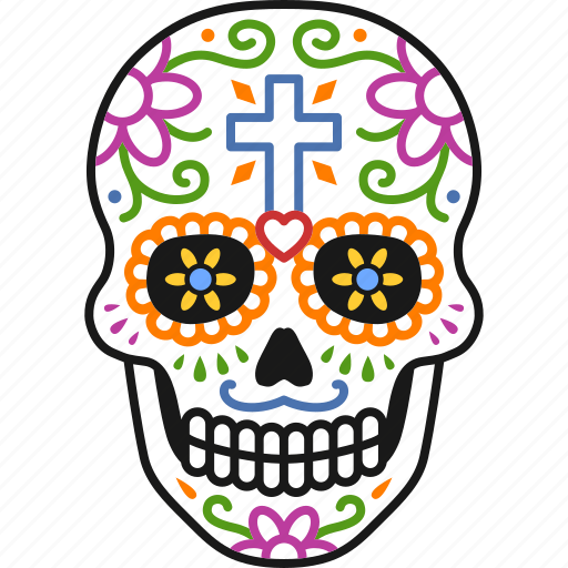 calavera, day, dead, decorated, dia, muertos, skull icon
