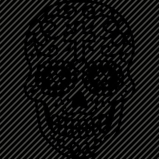 calavera, day, dead, decorated, dia, muertos, skull icon