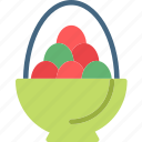 bucket, easter, eggs, paint, red icon