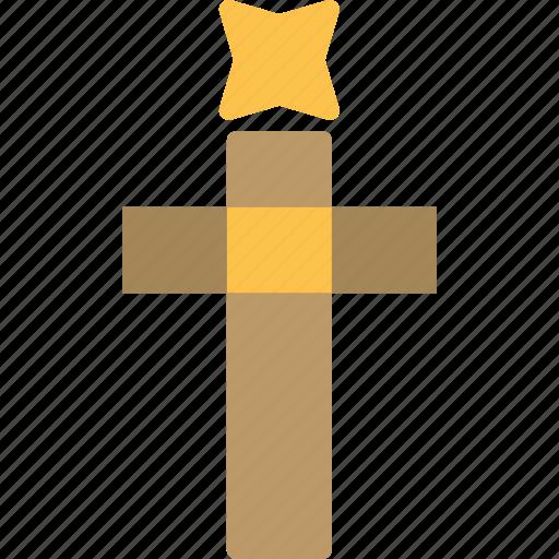 cross, decor, god, holy, star, tree, word icon