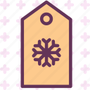 snowflake, tag, winter icon