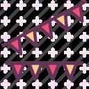 birthday, celebrate, color, globe, party, triangles icon