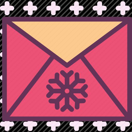 envelope, greetings, mail, snowflake, winter icon