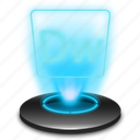adobe, document, dreamweaver, dw, hologram, holographic icon