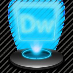 adobe, document, dreamweaver, dw, hologram icon
