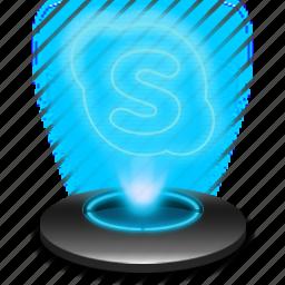 communication, hologram, messanger, microsoft, skype icon