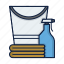 bottle, bucket, clean, cleaner, cleaning, detergent, washing icon