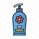 bottle, conditioner, cosmetics, hair, shampoo, soap icon