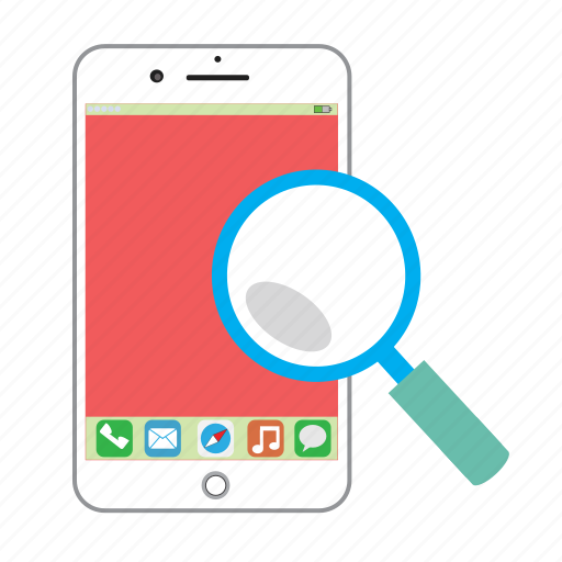find, iphone, magnifier, phone, search, view, zoom icon