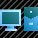 computer, cpu, monitor, screen, work