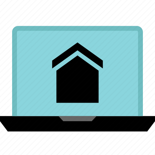 estate, house, laptop, online, real icon