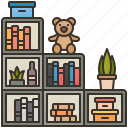 bookcase, bookshelf, furniture, home, room icon