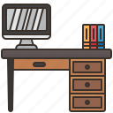 desk, interior, office, room, workspace icon