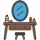 beauty, dressing, furniture, makeup, table icon