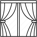 curtain, fabric, interior, room, window icon