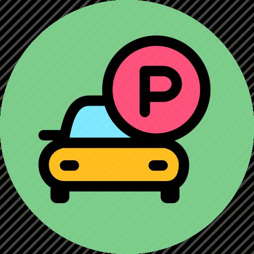 car park, parking area, parking lot icon