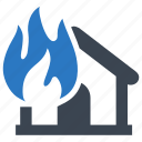 explosion, fire, home insurance, house, insurance icon