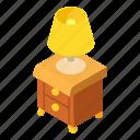bedside, bulb, isometric, lamp, logo, object, table
