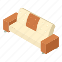 couch, divan, isometric, logo, lounge, object, sofa