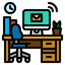 chair, desk, desktop, office, workspace icon