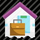 briefcase, document, home, paper, quarantine, suitcase, working