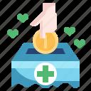 box, cash, coin, donation, money, subsidy