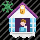 cautious, face, home, house, mask, pandemic, quarantine