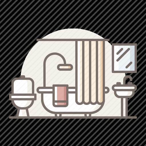 bathroom, bathtub, curtain icon