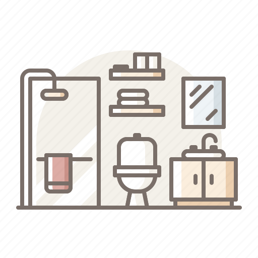 bathroom, glass, shower icon