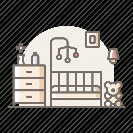 baby, bedroom, box icon